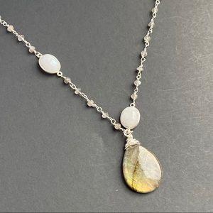 Labradorite Moonstone Sterling Silver Necklace